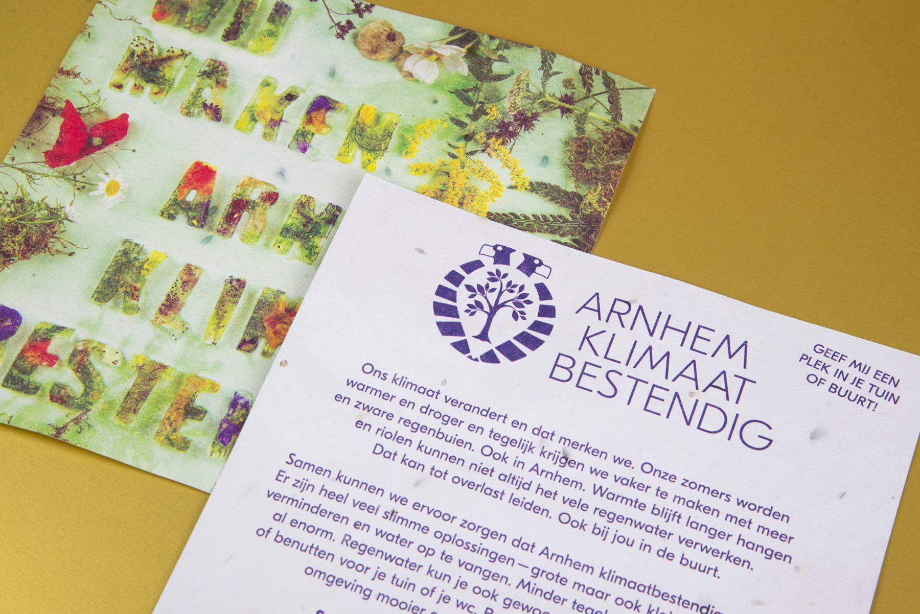 Arnhem Klimaatbestendig gemeente arnhem klimaat grafisch ontwerp bloempapier DDD natuur ijsletters bloempapier zaaipapier